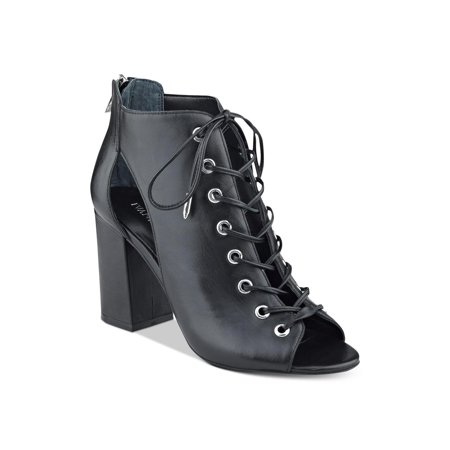 Ivanka Trump Womens Rahela Leather Peep Toe Ankle Fashion Boots Gothic Leather Boots