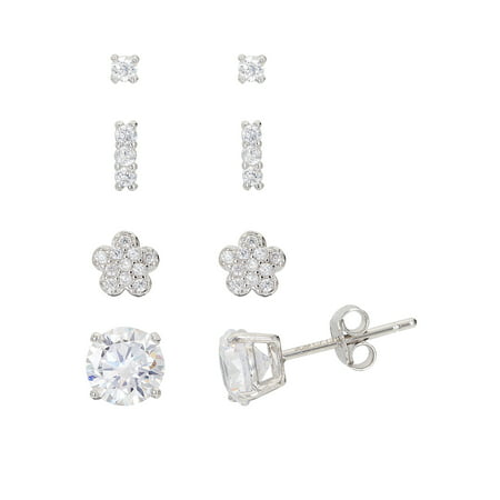 Bat Earrings (Sterling Silver Cubic Zirconia Flower, Large Round, Small Round & Bar Earrings 4pc)