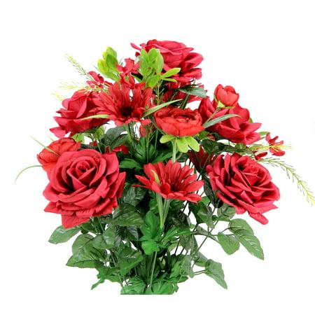 Faux Rose G. Daisy Ranunculus Mixed Flower Bush