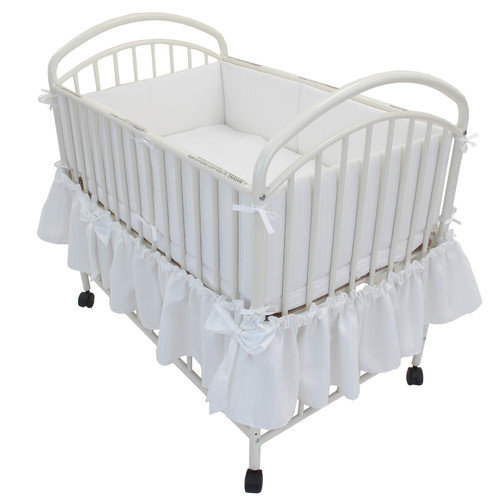 L.A. Baby Classic Arched Compact Metal Convertible Crib with Mattress