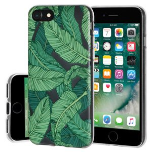 iPhone 7 Case, Soft Gel Clear TPU Back Case Impact Defender Skin Cover for iPhone 7 - Tropical Leaf