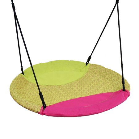 Blue Rabbit Play Disco Kids Saucer Web Swing with Ropes/Chains, Magenta/Lime Green