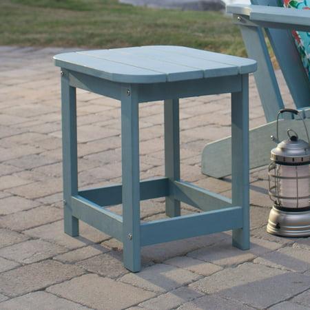 Belham Living Seacrest Cottage All Weather Resin Square Side Table - Capri Blue ()