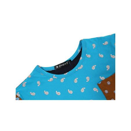 Men Color Block Paisleys Novelty Print T-Shirt Sea Blue L - image 1 of 7