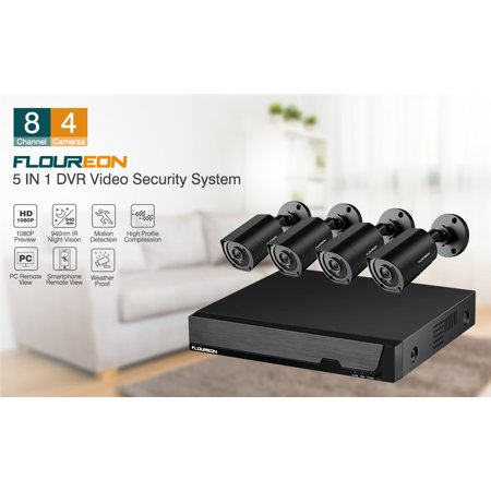 FLOUREON 8CH DVR Security Camera System 5 IN 1 1080N Video DVR Recorder 4X HD 3000TVL 1080P Invisible IR Night Vision Indoor Outdoor Weatherproof CCTV Cameras Motion Alert, Smartphone, PC