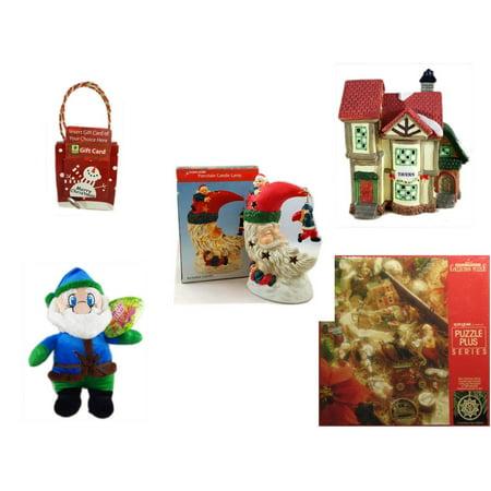 Christmas Fun Gift Bundle [5 Piece] - Musical Gift Card Holder Snowman -  Village