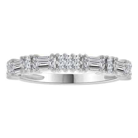 Sterling Silver White Rhodium, Fancy Band Ring Round and Baguette Cut Created CZ Crystals (Crystal Cushion Cut Ring)