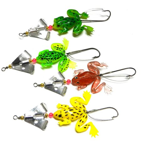 4Pcs Rubber Frog Shaped Bait Soft Fishing Lures Bass CrankBait Tackle 9cm/6.2g Random (Best Soft Bait For Bass)