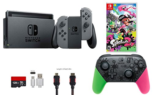 Nintendo Switch Bundle (7 items): 32GB Console Gray Joy-con, Nintendo Switch Pro...