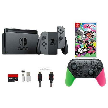 Nintendo Switch Bundle (7 items): 32GB Console Gray Joy-con, Nintendo