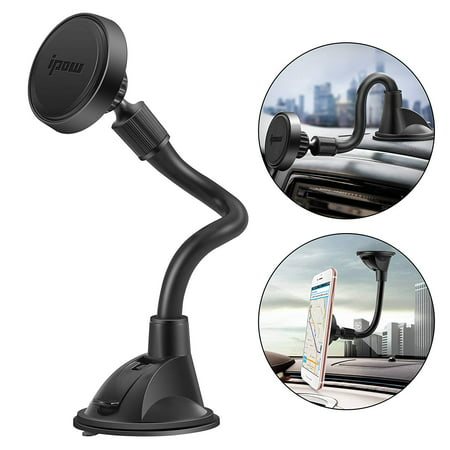 IPOW Long Arm Mangetic Phone Car Mount Dashboard Windshield Magnetic Phone Holder with Enhanced Suction Cup for iPhone X/8/8Plus/7/7Plus/6s/6Plus/5S, Galaxy S5/S6/S7/S8, Google Nexus,