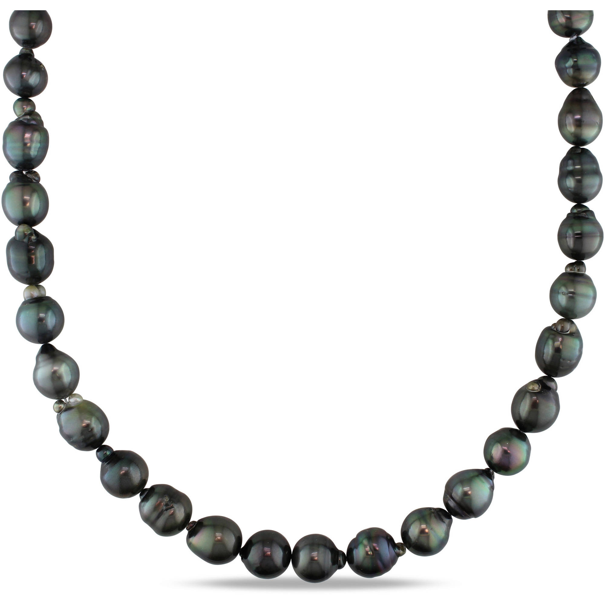 "9-11mm Black Tahitian Pearl 14kt White Gold Strand Necklace, 18"" by Generic"