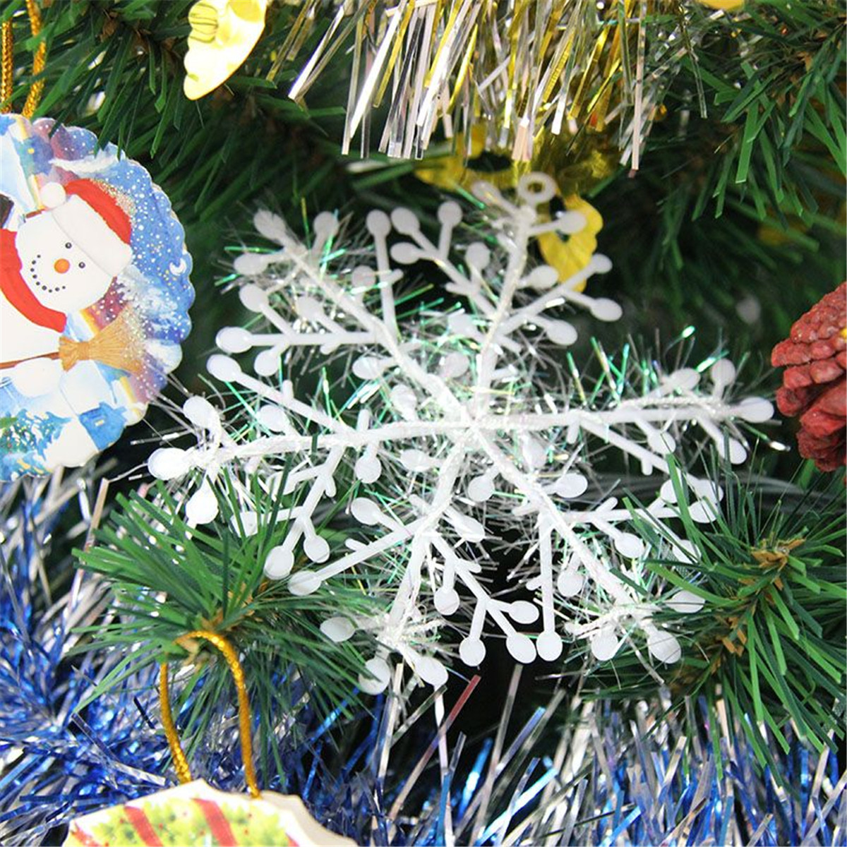 60pcs Classic White Snowflake Ornament Christmas Xmas Tree Hanging Decoration