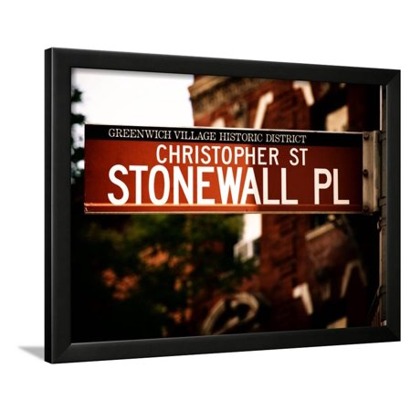 Urban Sign, Christopher Street and Stonewall Place, Greenwich Village District, Manhattan, New York Framed Print Wall Art By Philippe Hugonnard