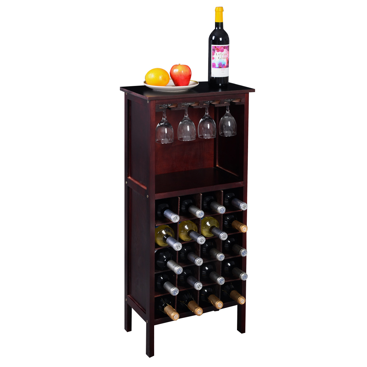 Costway Wood Wine Rack Holder Storage Shelf Display w  Glass Hanger (20-Bottle(Cabinet)) by Costway