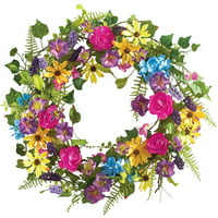 "Colorful 17"" Mixed Floral Spring Summer Wreath with Yellow Daisies, Multi"