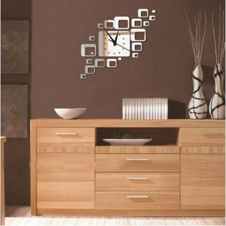 Square Mirror Silver Wall Clock Modern Design Home Decor