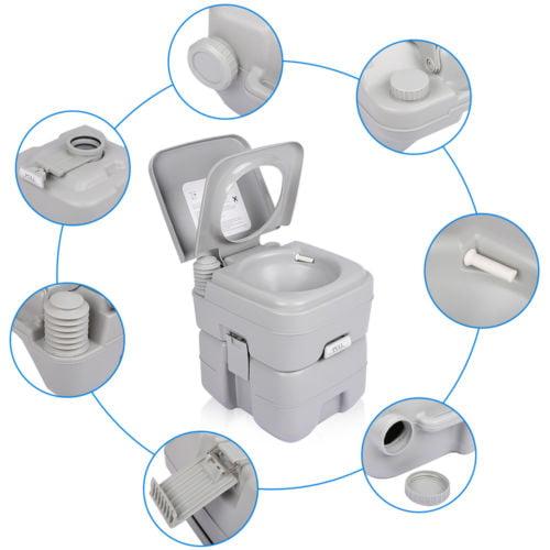 UBesGoo 5 Gallon/20L Outdoor Portable Toilet, Flush Porta Potti Indoor Travel Camping Toilet, for Car, Boat, Caravan, Campsite, Hospital Gray