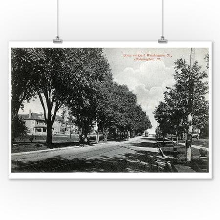 Bloomington, Illinois - East Washington Street Scene (9x12 Art Print, Wall Decor Travel Poster) (Party City Bloomington Illinois)