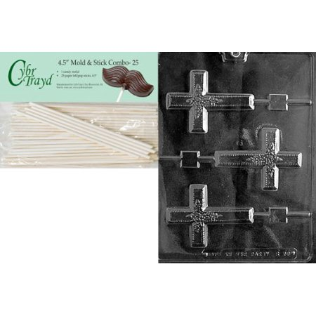 Cybrtrayd Large Cross Lolly w/ Flowers Chocolate Candy Mold with 25 4.5-Inch Lollipop Sticks and Exclusive Cybrtrayd Copyrighted Chocolate Molding Instructions