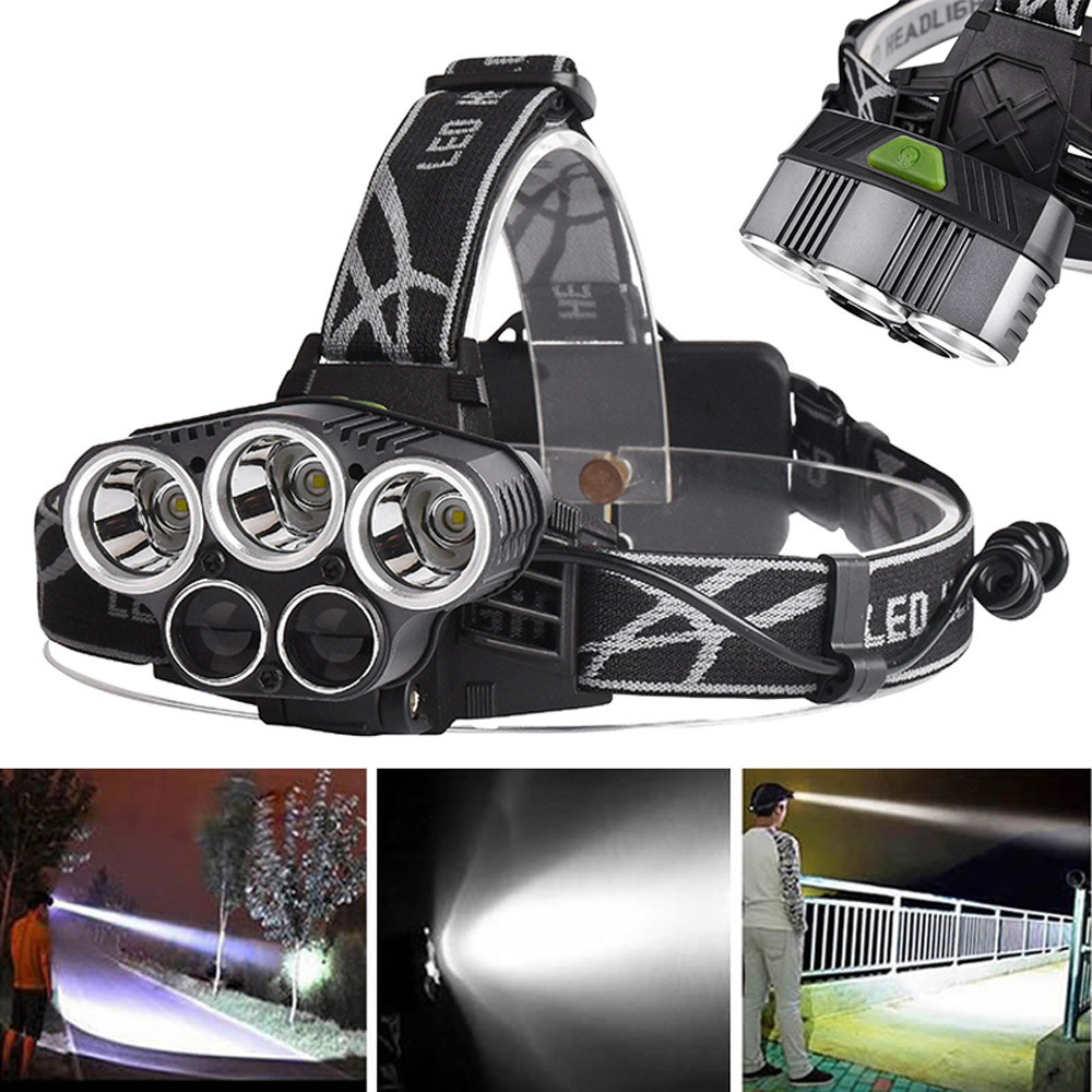 York'Street 50000LM 5X XM-L T6 Zoomable LED Rechargeable Headlamp Head Light Torch For Outdoor Sports with USB Cable