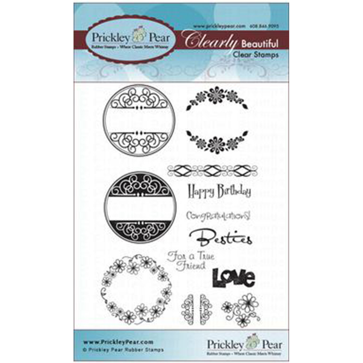 Prickley Pear Rubber Stamp Set-Scalloped Circle Sentiments