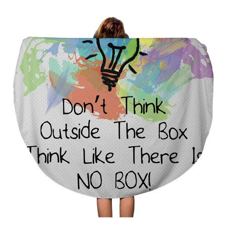 JSDART 60 inch Round Beach Towel Blanket Motivational Quote Don Think Outside The Box Like There Travel Circle Circular Towels Mat Tapestry Beach Throw - image 1 de 1