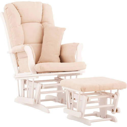 Storkcraft Tuscany Glider and Ottoman incl Lumbar Pillow White with Beige Cushions