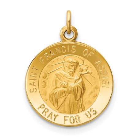 14k Yellow Gold Saint Francis Of Assisi Medal Pendant Charm Necklace Religious Patron St Franci For Women