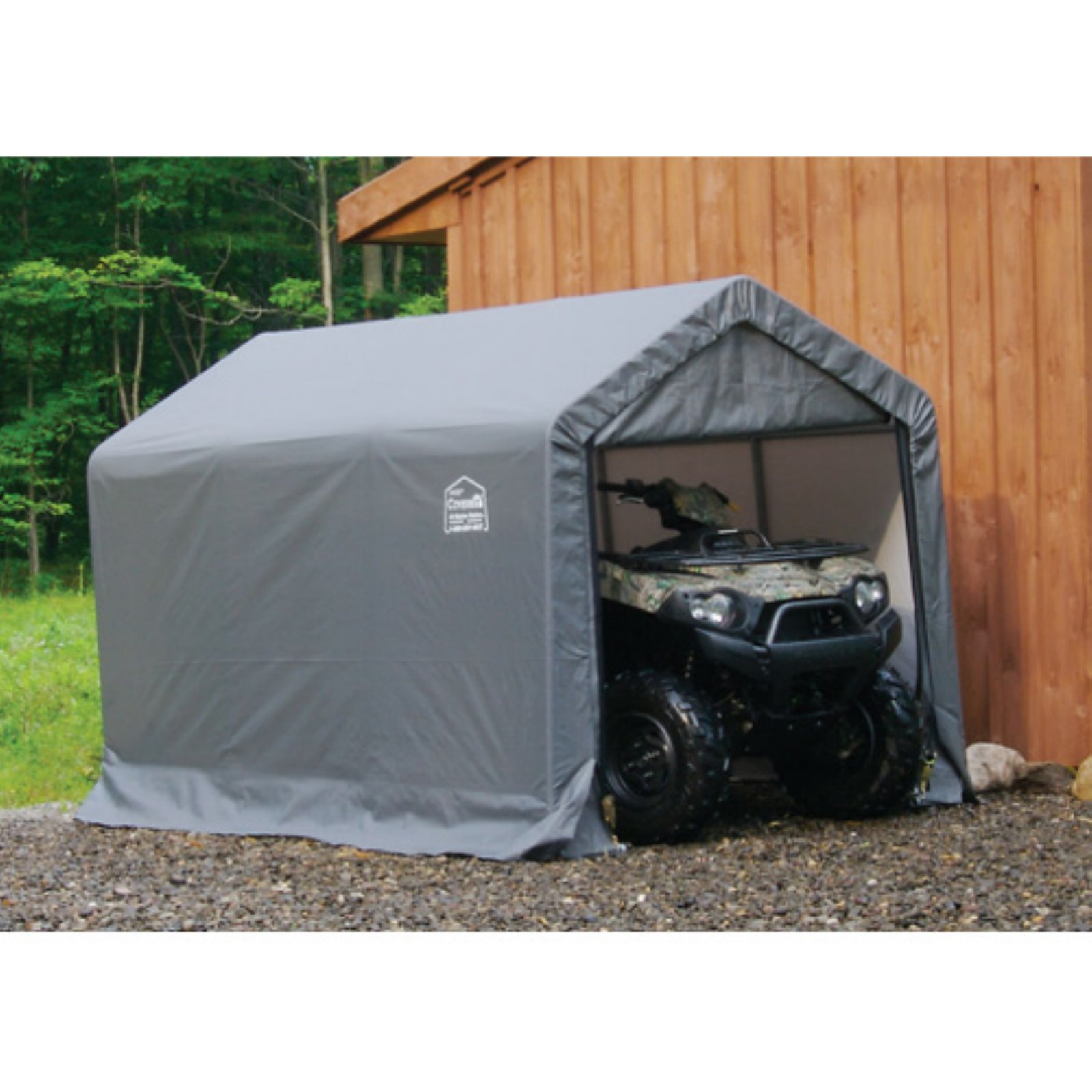 "Shed-in-a-Box 6' x 10' x 6'6""/18m x 3m x 2m Peak Style Storage Shed, Gray"