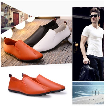New Mens Business PU Leather Shoes Slip On Loafers Casual Sneakers Calfskin Leather Mens Sneakers