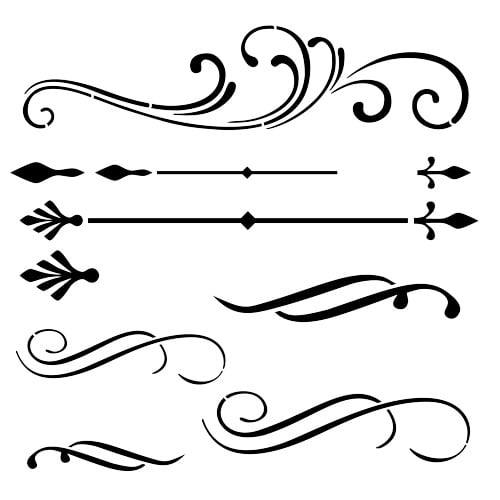 Designer Stencils Scrolls and Flourishes Stencil Details FS051