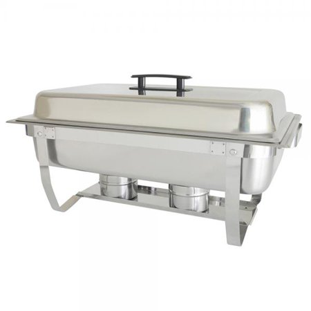 Chafer, 8 quart, full-size, with folding stand, welded frame, dripless water pan, lift-off cover