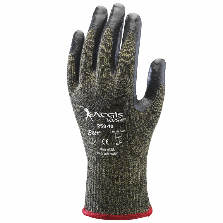 SHOWA Size 7 Aegis KVS4 13 Gauge Cut Resistant Black Nitrile Dipped Palm Coated Work Gloves With Yellow Seamless Stainless Steel And Polyester Reinforced Aramid Knit Liner And Elastic Knit Wrist