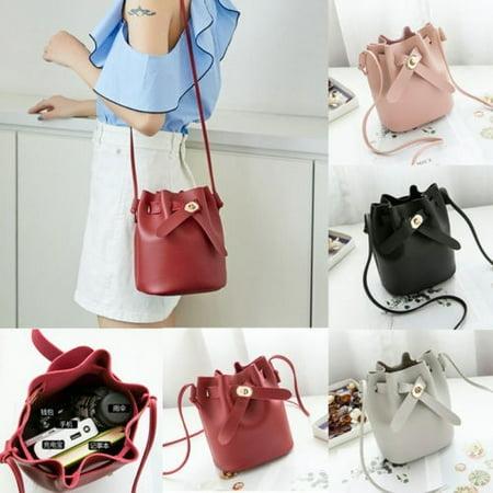 Women Elegant Leather Cross Body Shoulder Bag Handbag Satchel Purse Bucket Bag