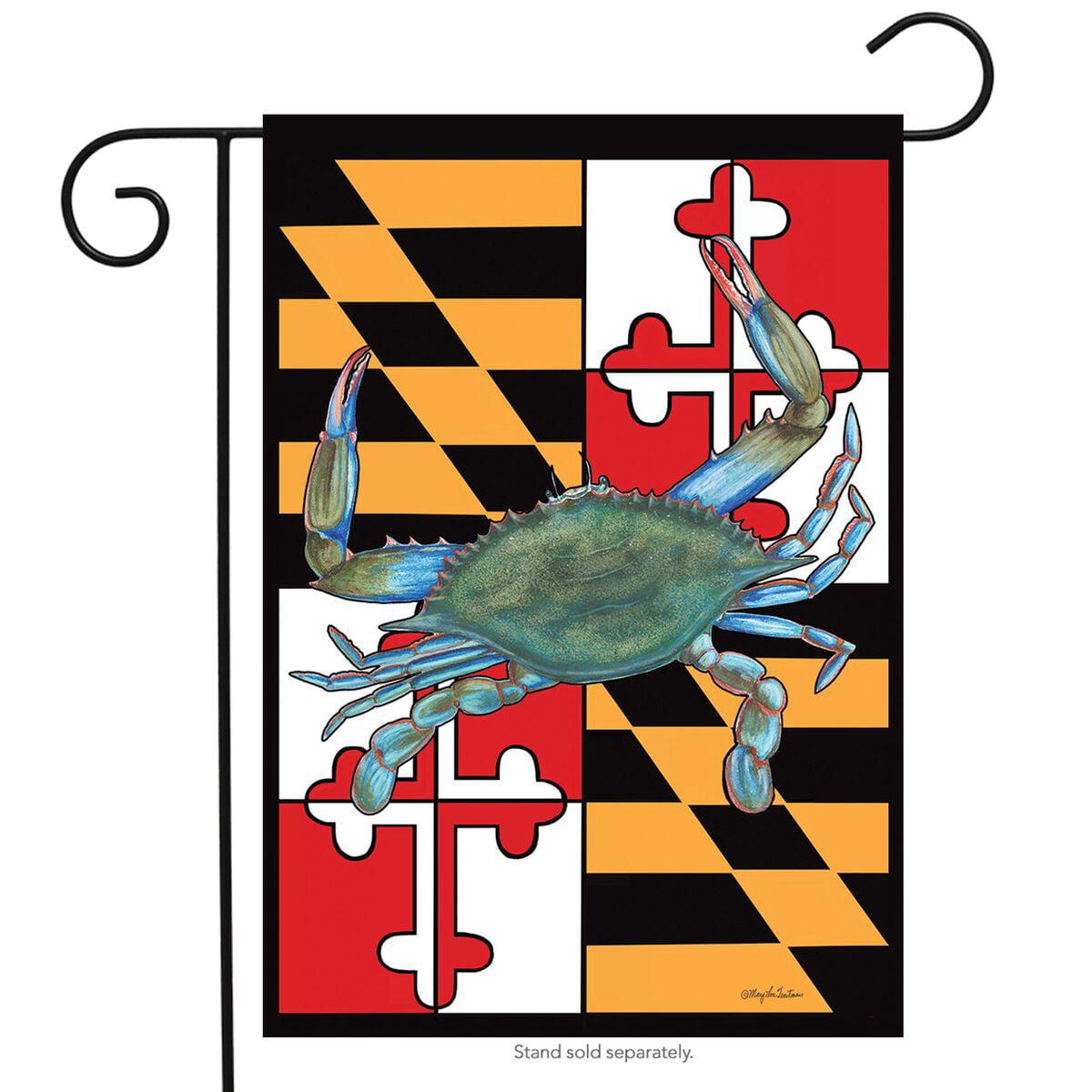 "maryland summer garden flag  crabs nautical 12.5"" x 18"" briarwood lane"