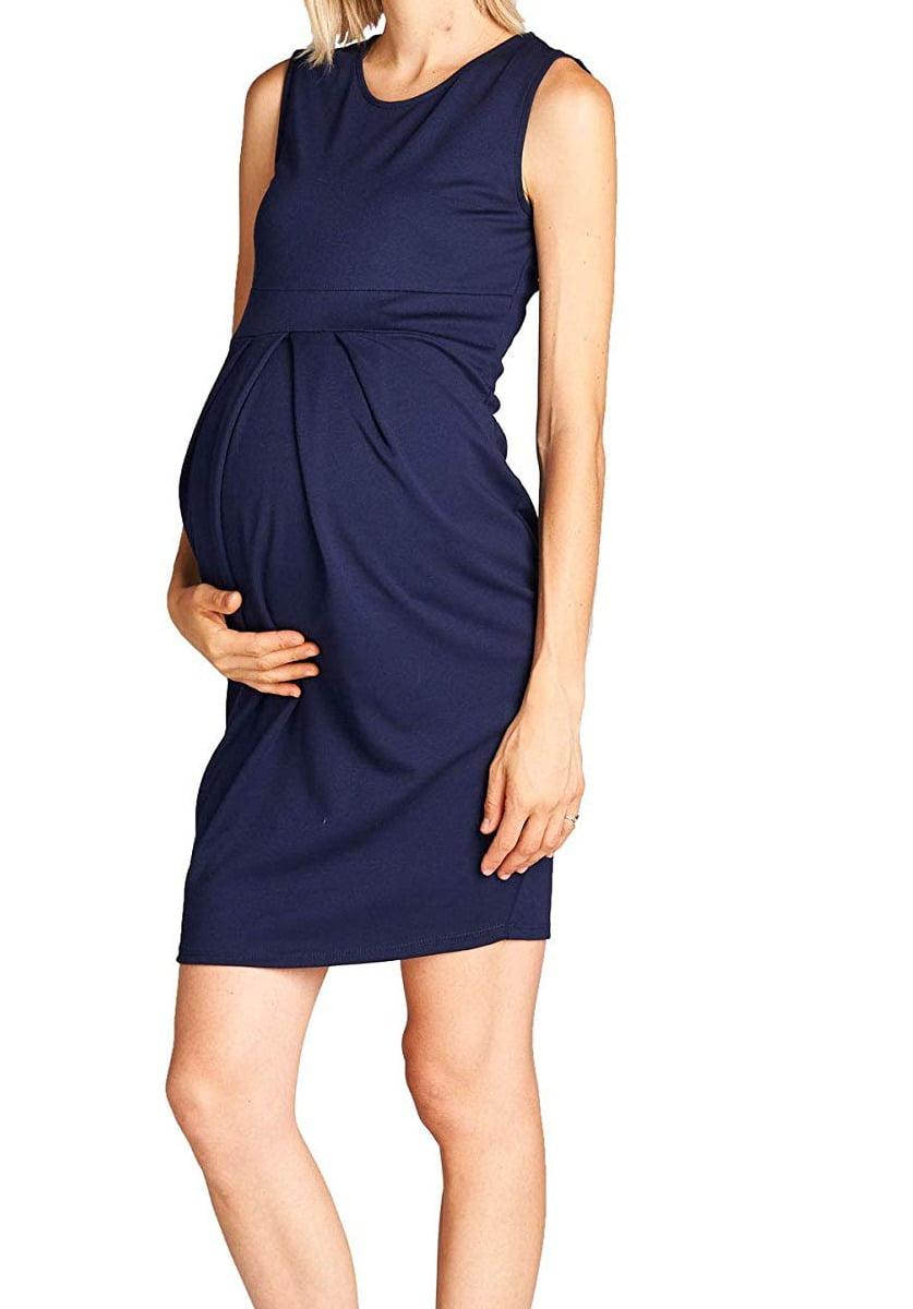 9fc605f5cae30 LaClef - LaClef Women's Maternity Knee length Front Pleated Sleeveless Midi  Dress (Large, Navy) - Walmart.com