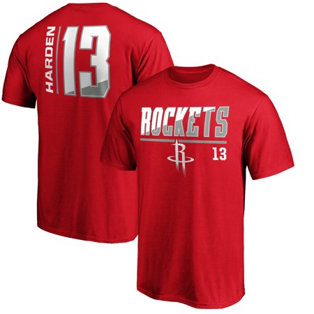 Men's Fanatics Branded James Harden Red Houston Rockets Baseline Fade Name & Number T-Shirt Adidas Houston Rockets Short Sleeve T-shirt