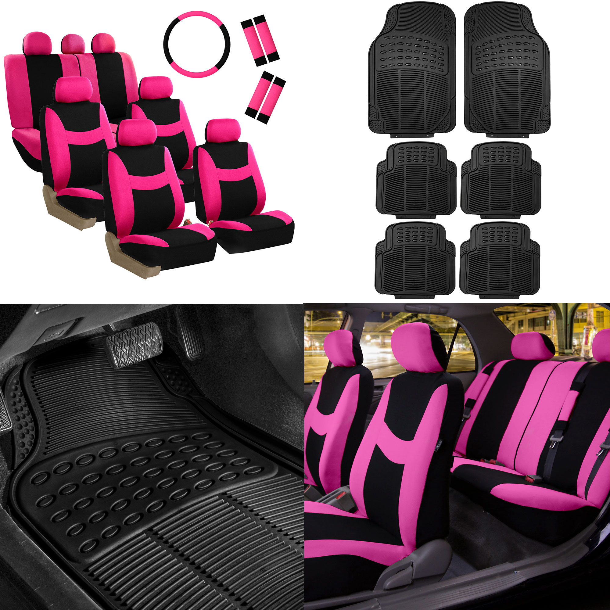 FH Group, 7 Seater 3 Row Pink Seat Covers for SUV Van Accesory Combo w/ Black Floor Mats