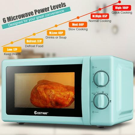 Costway Retro Countertop Microwave Oven 0 7 Cubic Feet