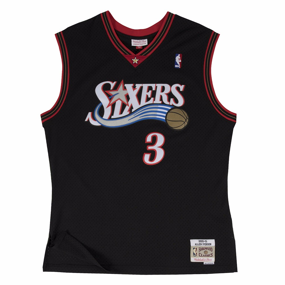 Mitchell And Ness Iverson Sixers #3 Black Swingman Jersey ( 353J-3B2FGYAIV )
