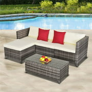 5 Pieces Outdoor Patio Furniture Set, All-Weather Outdoor Small Sectional Patio Sofa Set, Wicker Rattan Patio Sofa Couch Conversation Set with Ottoman