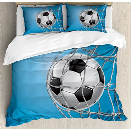 - Soccer King Size Duvet Cover Set, Goal Football in Net Entertainment Playing for Winning Active Lifestyle, Decorative 3 Piece Bedding Set with 2 Pillow Shams, Blue Pale Grey Black, by Ambesonne
