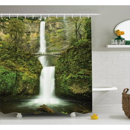 Ambesonne Hobbits Falls of Rivendell Multnomah Waterfall Oregon With Hobbit Elf Path Bridge Scene Image Single Shower Curtain - Halloween 3 Shower Scene