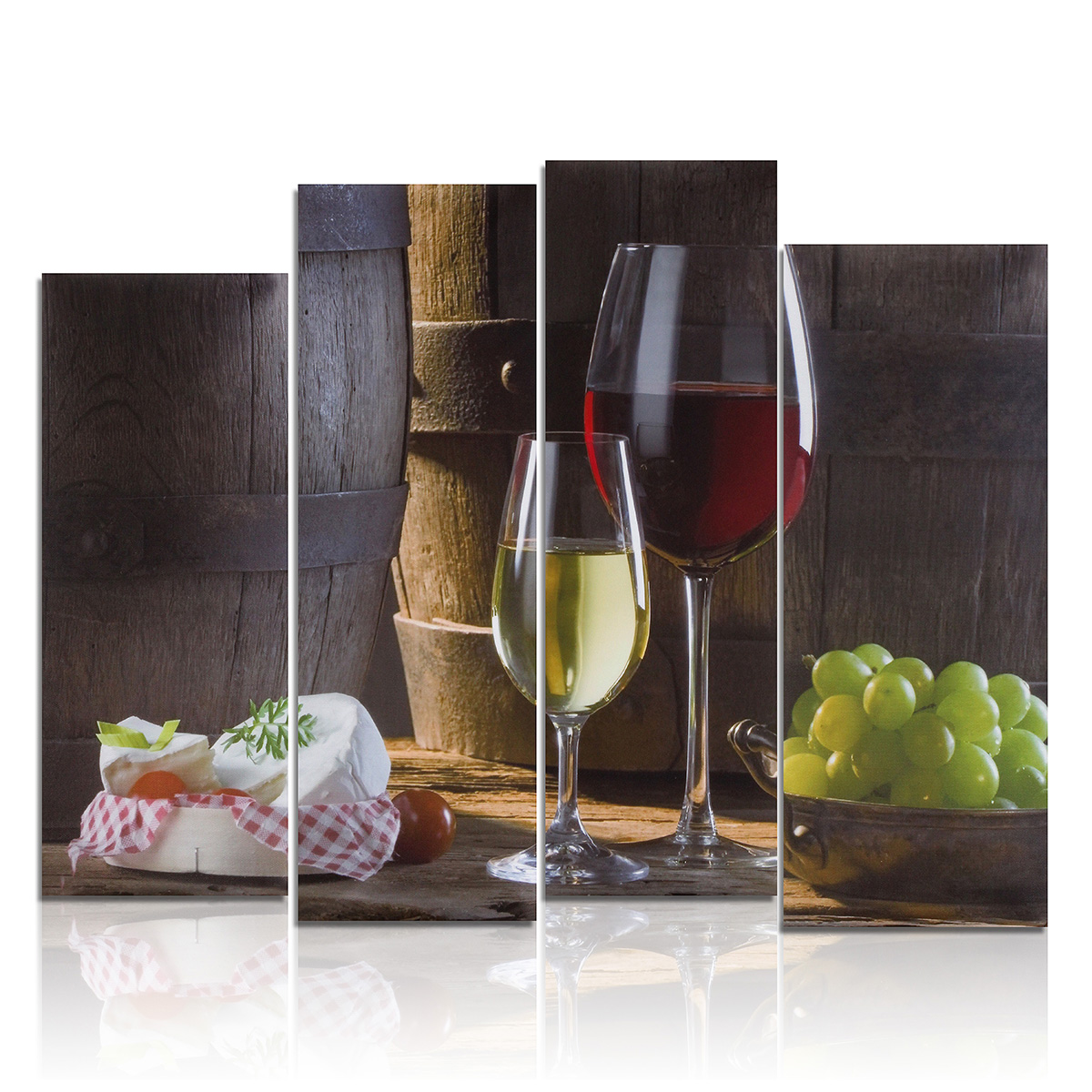 Modern Abstract 4Pcs/set Canvas Art Oil Painting Picture Print Wall Decor Christmas Gift Unframed Red Wine Dessert Fruit