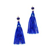 Lapis Tassel Pierced Earrings