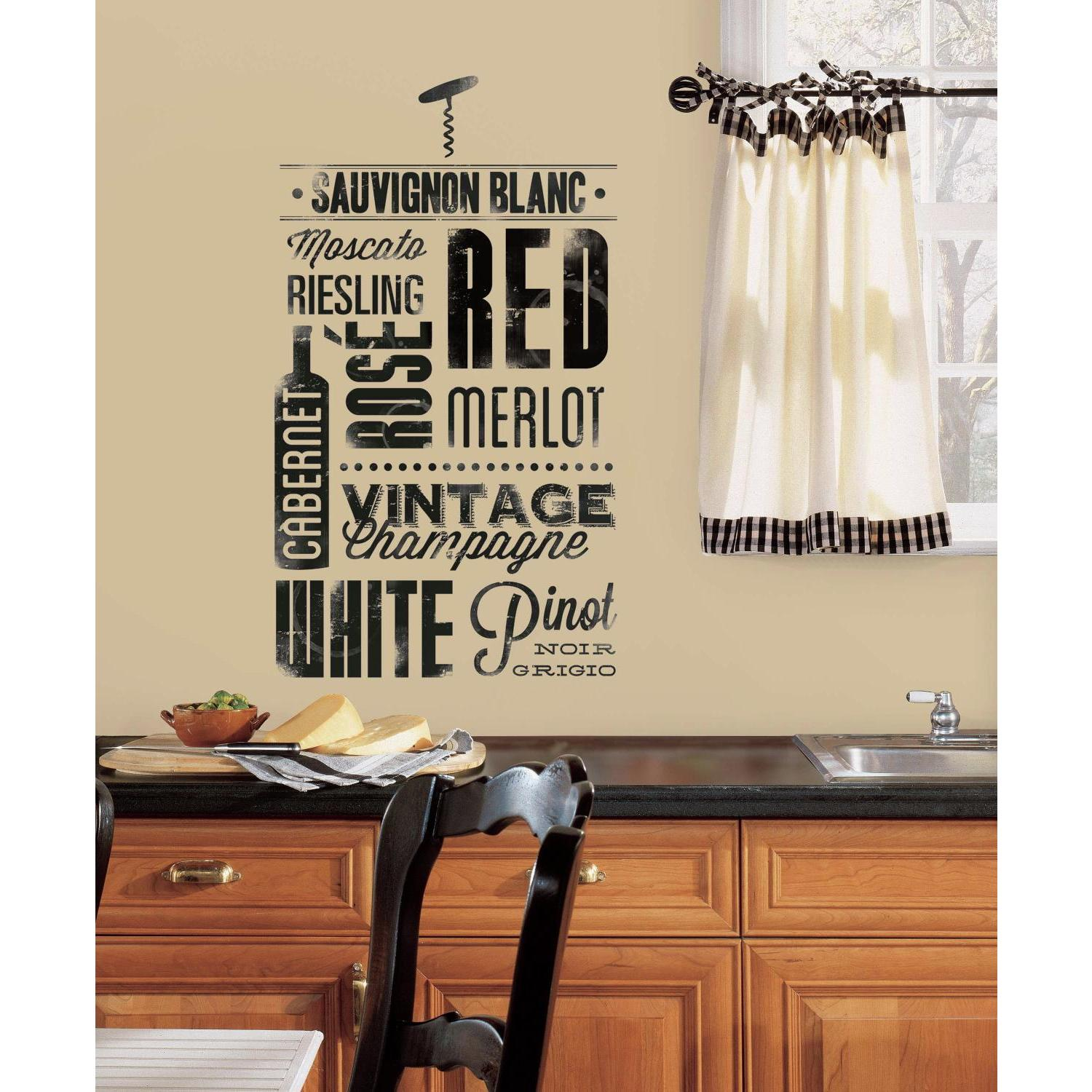 New WINE LOVERS WALL DECALS 22 Peel A7 Stick Black Kitchen Stickers Decor