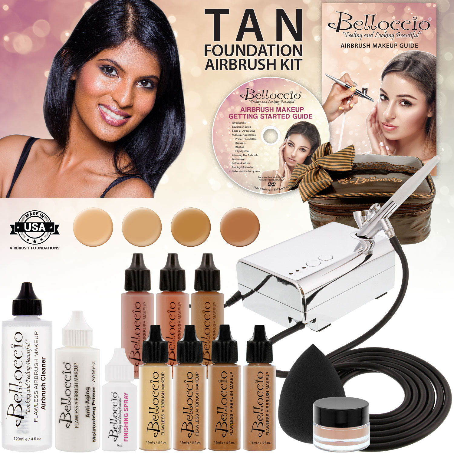 Belloccio Professional Deluxe Tan Shade AIRBRUSH COSMETIC MAKEUP SYSTEM Kit Set