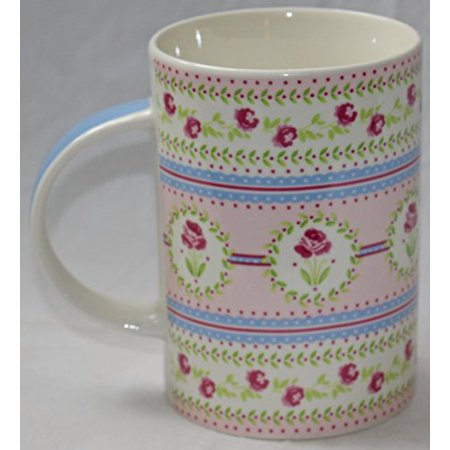Queen's Pink Roses Fine Porcelain Bone China Mug, 14-Ounce (Blue Handle)