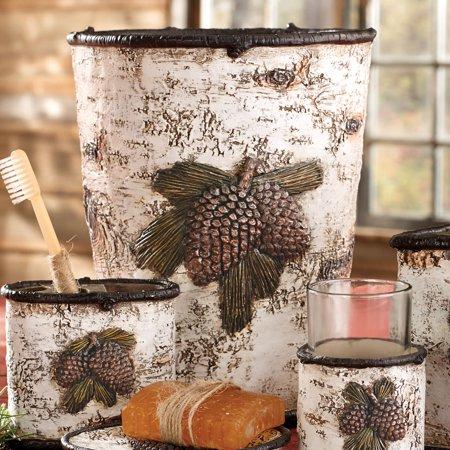 Pinecone & Birch Lodge Waste Basket - Rustic Bathroom  Accessories